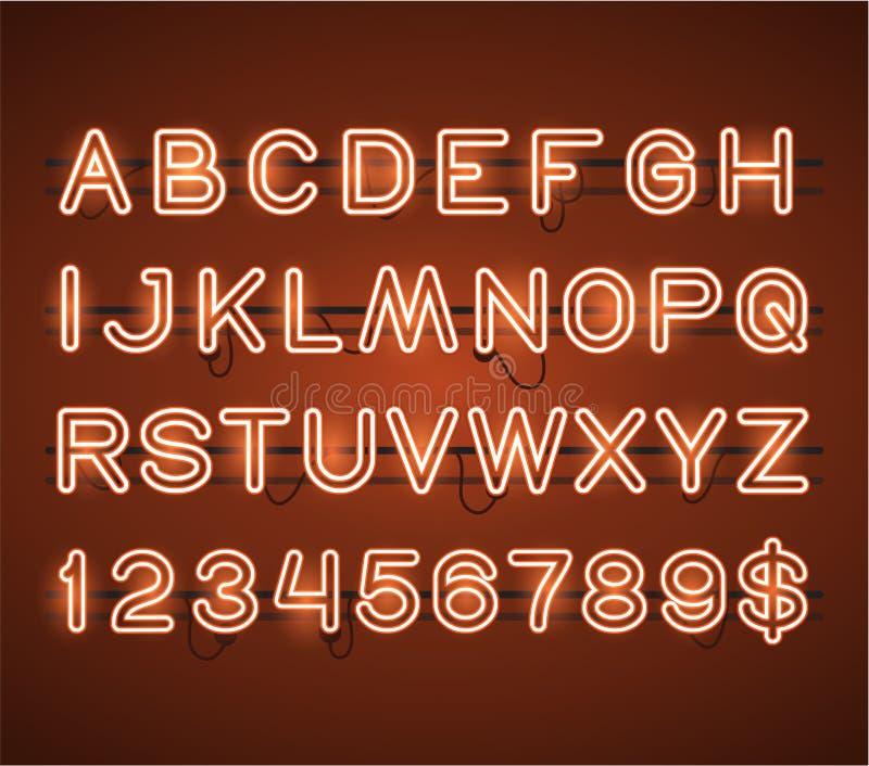 Alfabeto de neón anaranjado de la barra del vector que brilla intensamente libre illustration