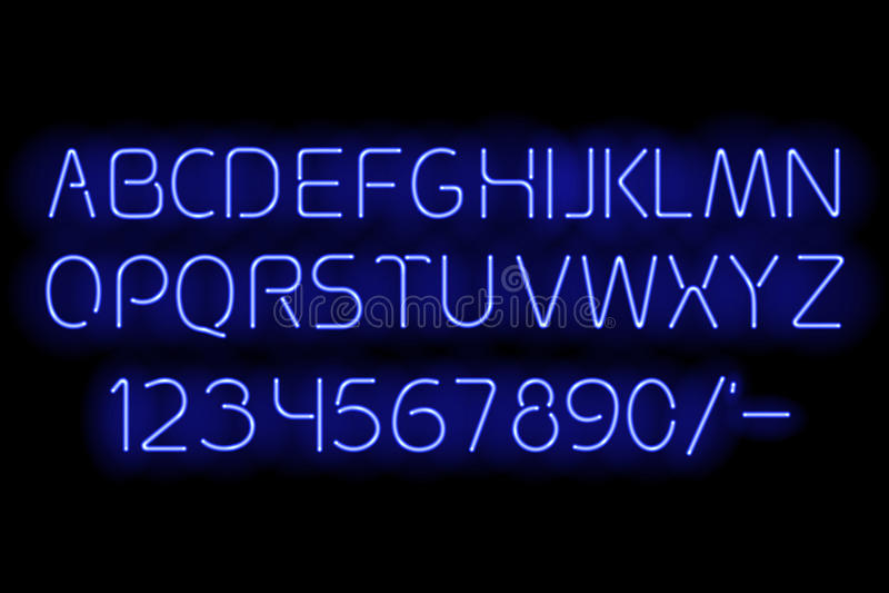 Alfabeto de neón azul ilustración del vector