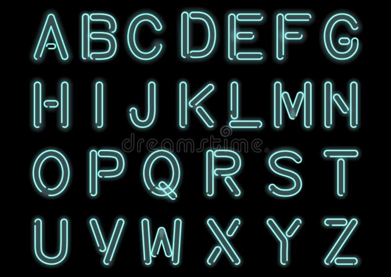 Alfabeto de neón azul ciánico que brilla intensamente aislado y transparente Fuente handcrafted aduana para el diseño stock de ilustración