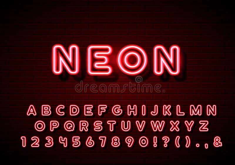 Alfabeto de neón compuesto tipo Letras de neón del resplandor fijadas en fondo de la pared de ladrillo ilustración del vector
