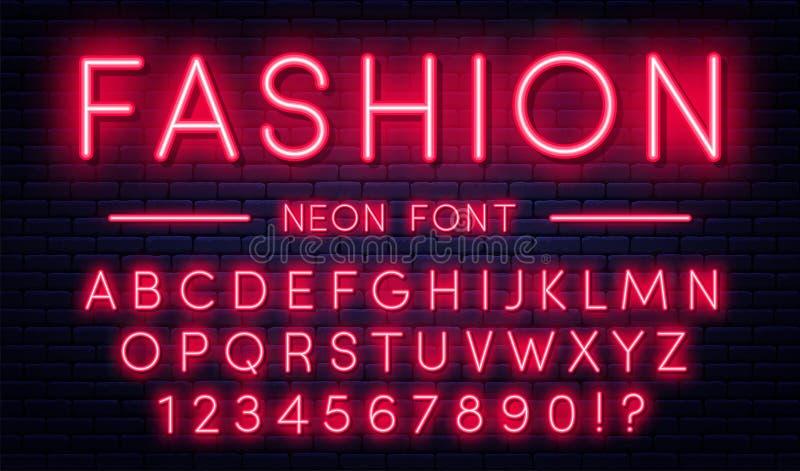 Alfabeto de neón con números Fuente de neón roja del estilo, lámparas fluorescentes en fondo de la pared de ladrillo stock de ilustración