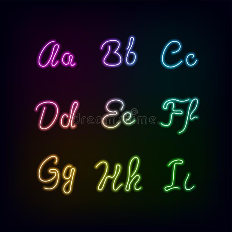Alfabeto de neón del resplandor del color del arco iris stock de ilustración