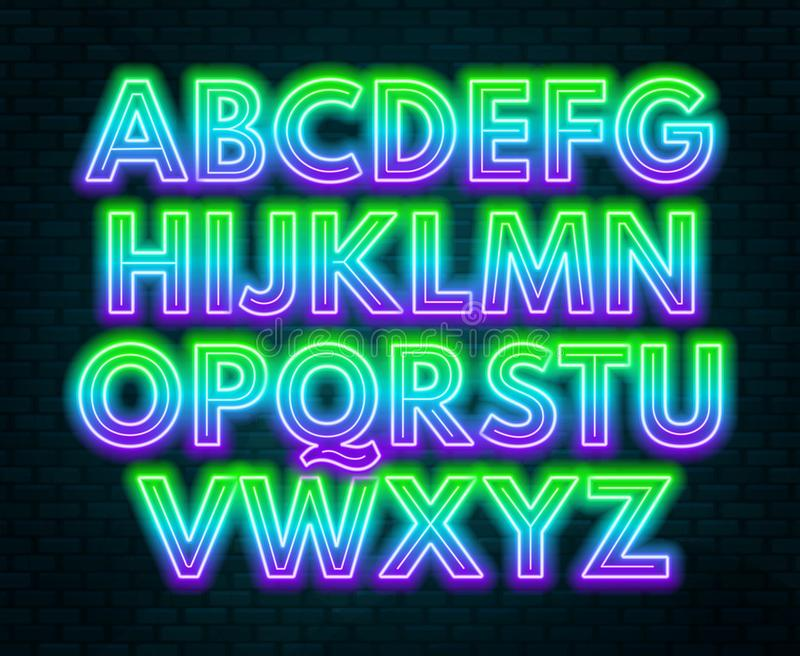 Alfabeto de neón de la pendiente púrpura verde en un fondo oscuro Fuente brillante para la decoración Mayúscula libre illustration