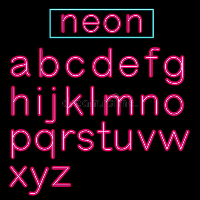 Alfabeto de neón rosado de la barra que brilla intensamente en fondo negro stock de ilustración