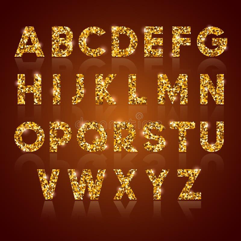 Alfabeto de oro stock de ilustración