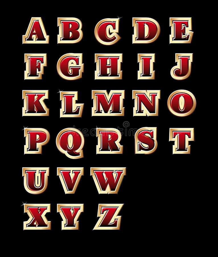 Alfabeto de oro del estilo stock de ilustración