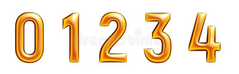 Alfabeto de oro, serie de los números, cero, uno, dos, tres, cuatro, fondo blanco libre illustration