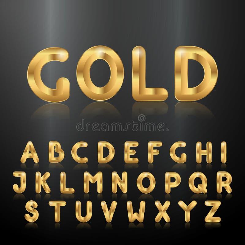Alfabeto de oro Sistema de las letras metálicas 3d ilustración del vector