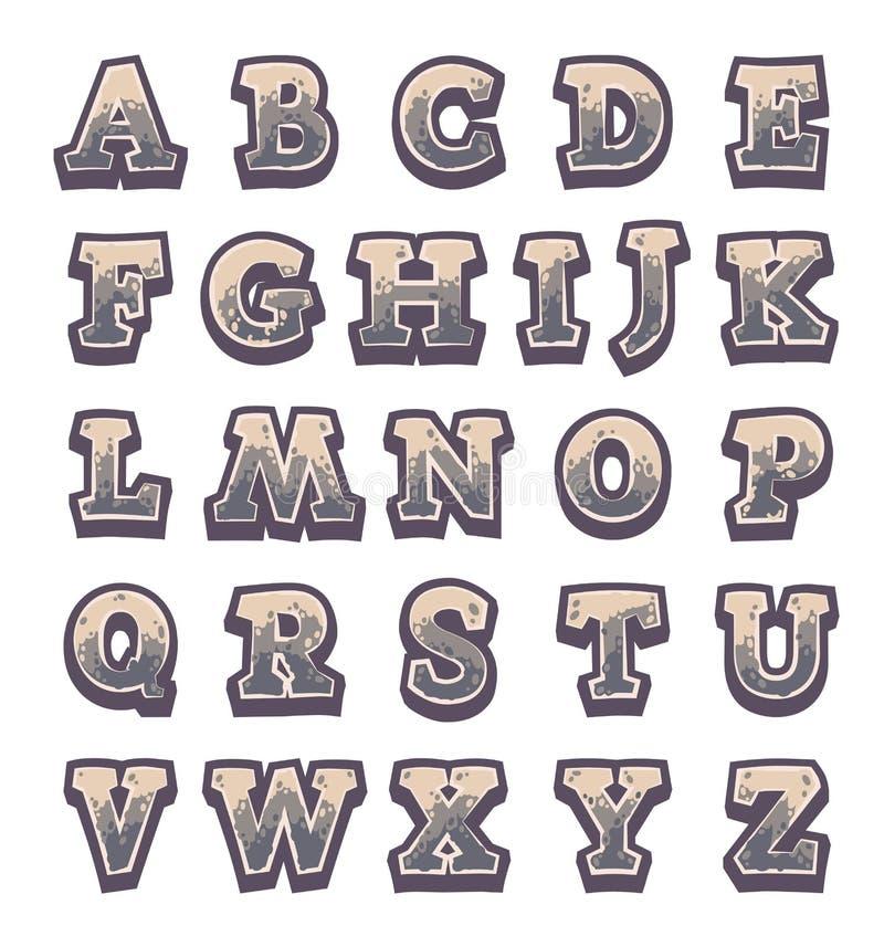 Alfabeto de pedra cinzento do jogo ilustração do vetor