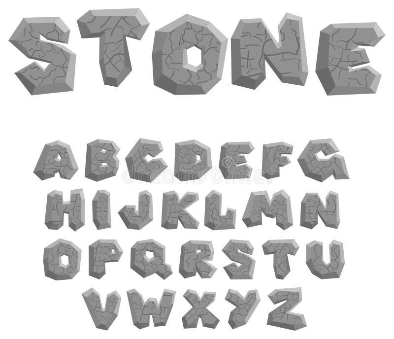 Alfabeto de piedra stock de ilustración