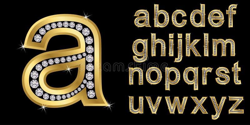 Alfabeto de plata con los diamantes, letras de A a Z stock de ilustración