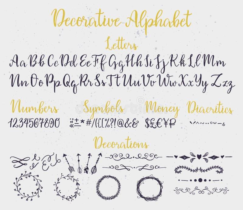 Alfabeto decorativo da rotulação da escova ilustração royalty free