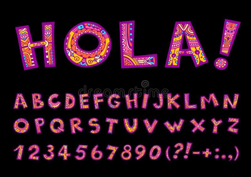 Alfabeto decorativo folclo'rico tirado mão da garatuja com números ilustração stock