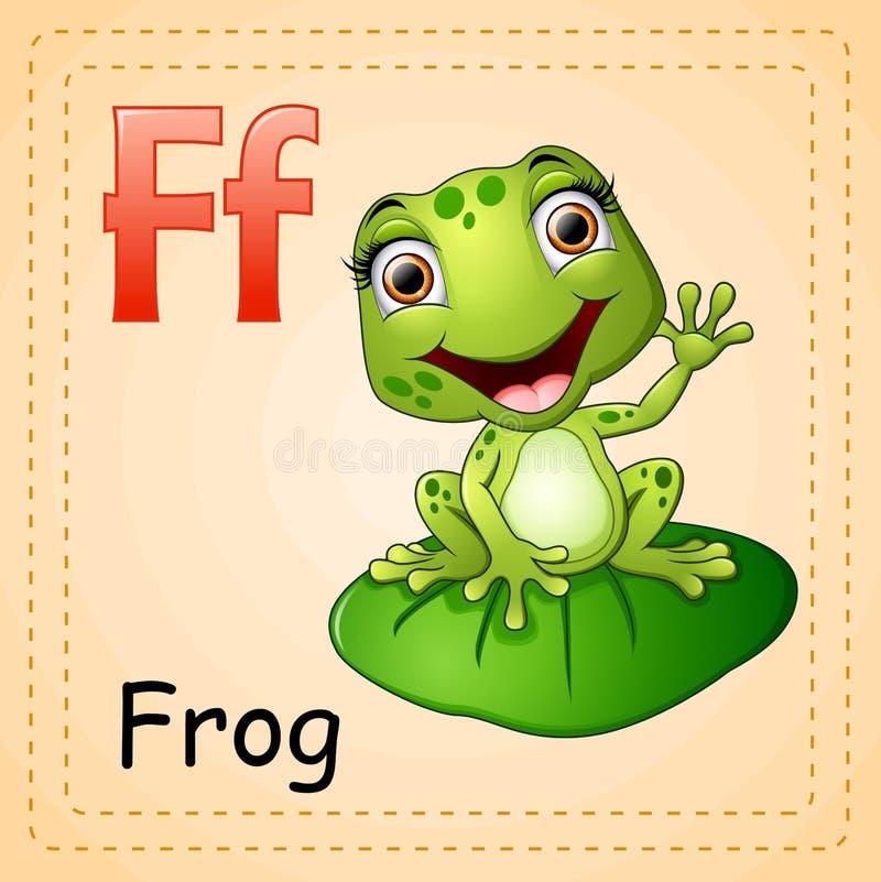 Alfabeto degli animali: La F è per la rana illustrazione di stock