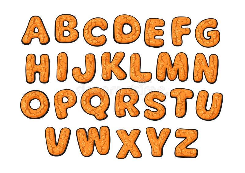 Alfabeto dei biscotti del pan di zenzero del nuovo anno e di Natale Lettere disegnate a mano del fumetto Illustrazione di vettore illustrazione di stock