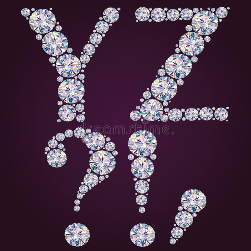 Alfabeto dei diamanti YZ illustrazione vettoriale