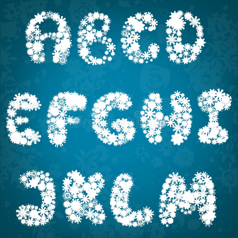 Alfabeto dei fiocchi di neve di Natale illustrazione di stock