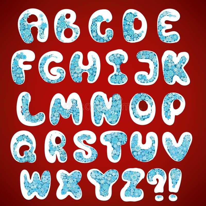 Alfabeto dei fiocchi di neve di Natale royalty illustrazione gratis