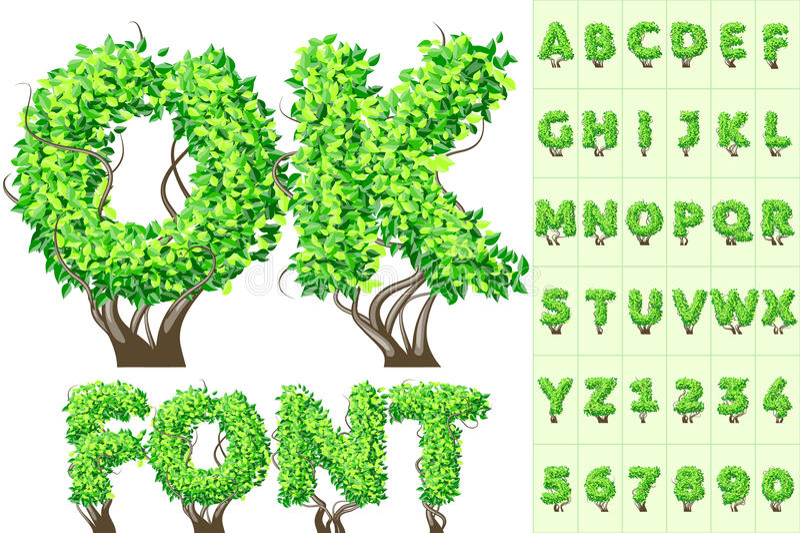 Alfabeto del árbol del verano ilustración del vector