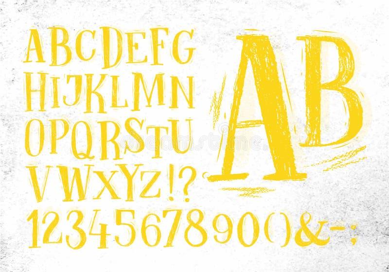 Alfabeto del amarillo de la fuente del lápiz stock de ilustración