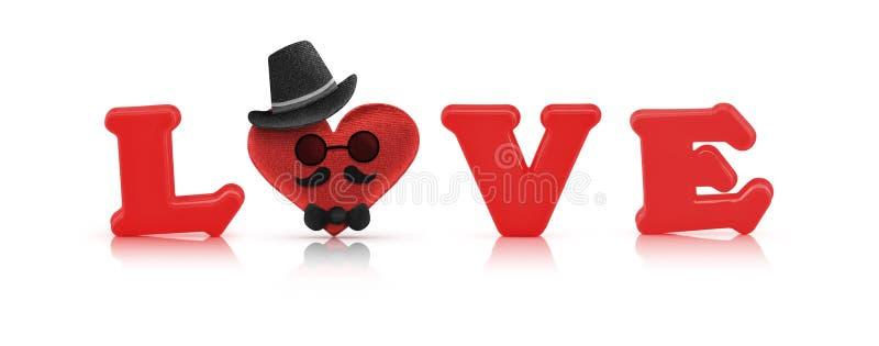 Alfabeto del amor y corazón rojos de la tela, carácter del hombre imagen de archivo libre de regalías