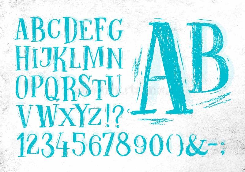 Alfabeto del azul de la fuente del lápiz ilustración del vector