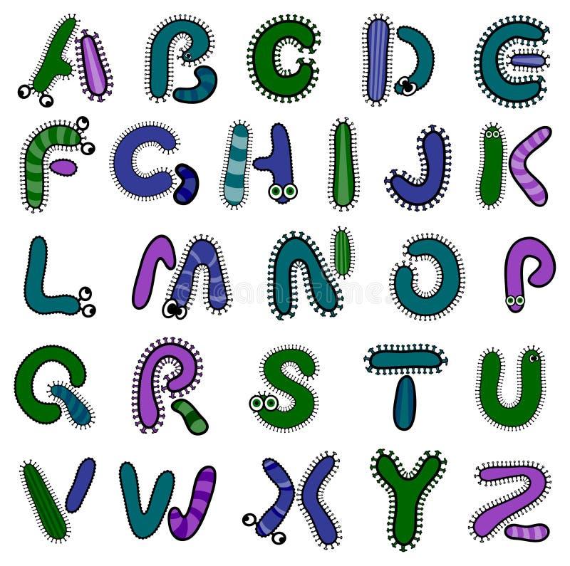 Alfabeto del batterio illustrazione di stock