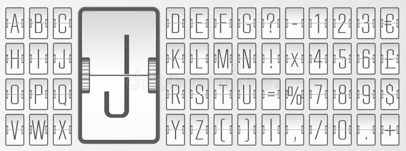 Alfabeto del bordo bianco di vibrazione dell'aeroporto per la partenza di volo o la rappresentazione di informazioni di arrivo Il illustrazione di stock