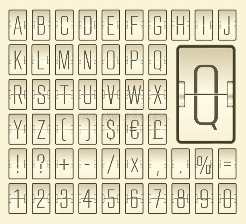 Alfabeto del bordo di vibrazione dell'aeroporto per la partenza di volo o la rappresentazione di informazioni di arrivo Illustraz illustrazione di stock