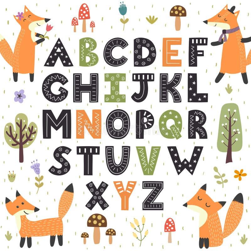 Alfabeto del bosque con los zorros lindos Letras exhaustas de la mano de A a Z stock de ilustración