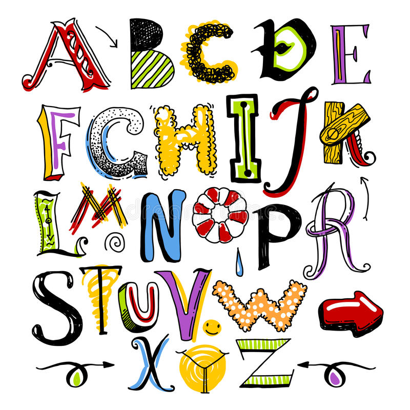 Alfabeto del color del garabato ilustración del vector