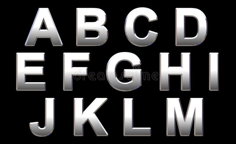 Alfabeto del cromo ilustración del vector