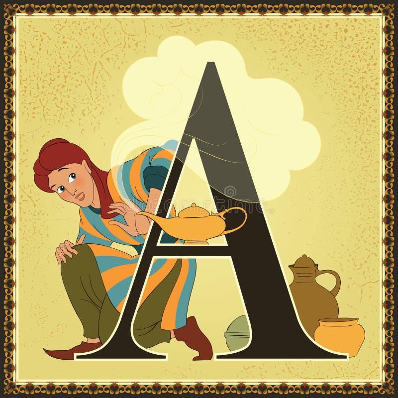 Alfabeto del cuento de hadas de la historieta del libro de niños Letra A Aladdin y la lámpara maravillosa Noches árabes stock de ilustración