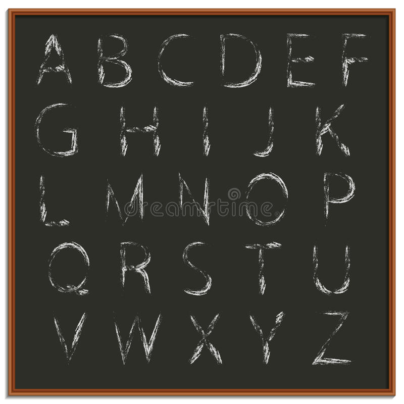 Alfabeto del dibujo de la mano de la tiza, ejemplo del vector ilustración del vector