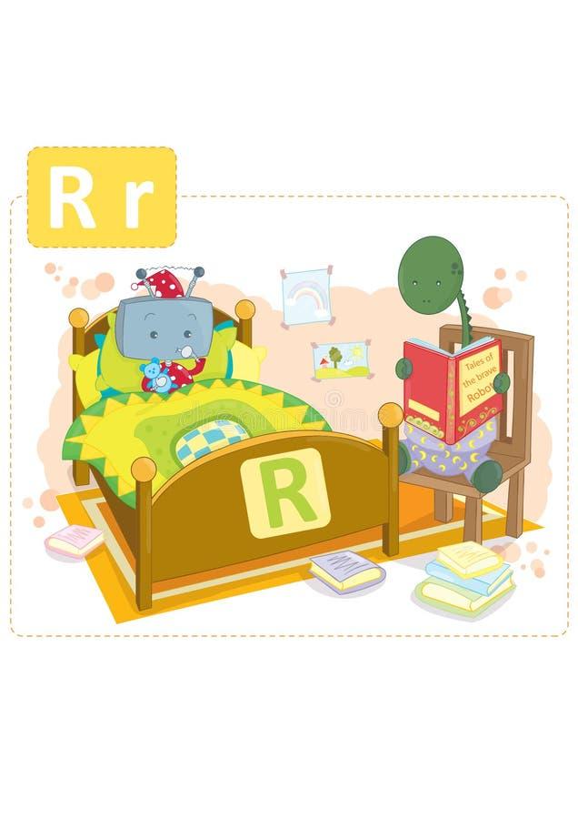 Alfabeto del dinosaurio, letra R del robot fotografía de archivo