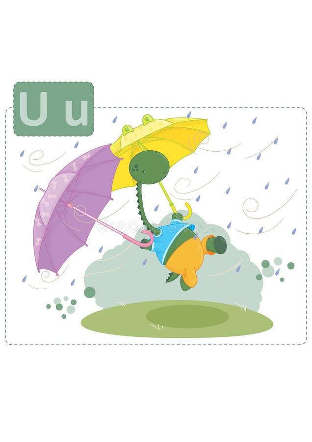 Alfabeto del dinosaurio, letra U del paraguas fotografía de archivo