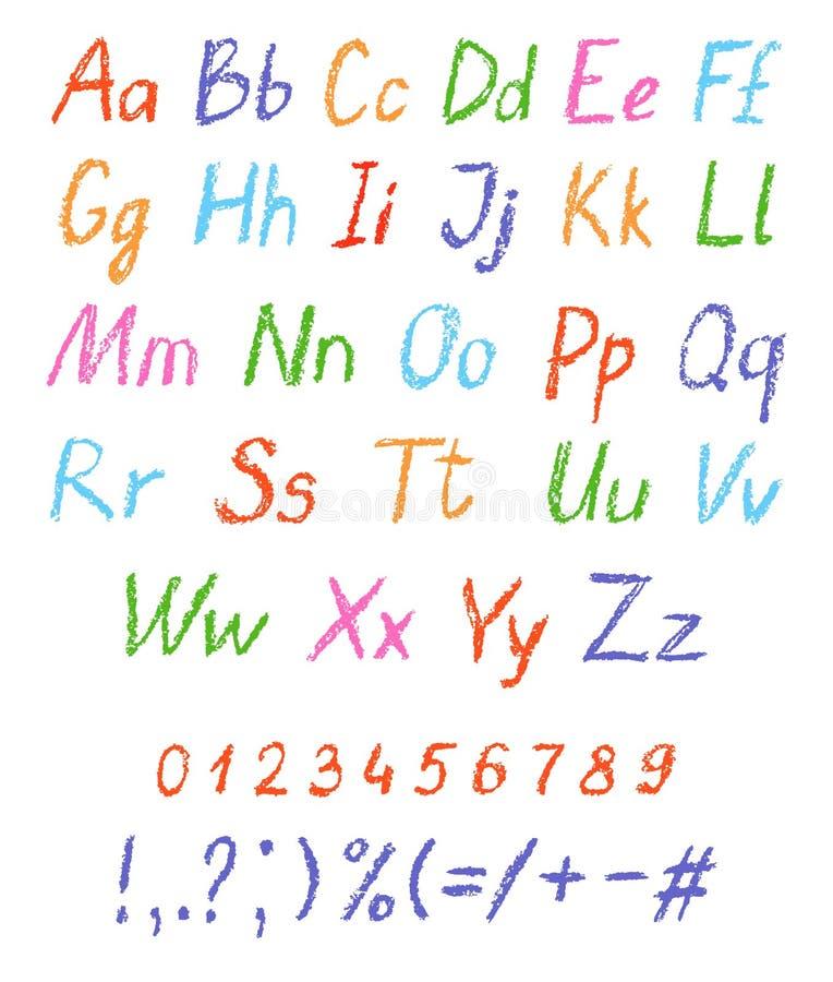 Alfabeto del disegno del ` s del bambino del pastello Fonte pastello del gesso Lettere del disegno di ABC immagine stock libera da diritti