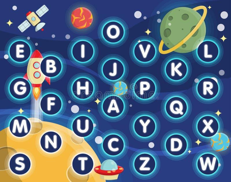 Alfabeto del espacio de la actividad de los niños que aprende el placemat ilustración del vector