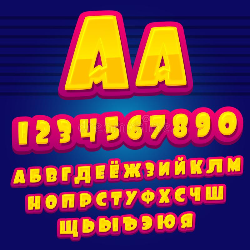 Alfabeto del fumetto Alfabeto cirillico Lettere e numeri di alfabeto di vettore illustrazione vettoriale