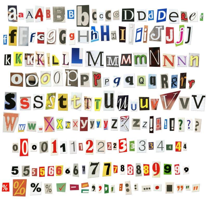 Alfabeto del giornale illustrazione di stock
