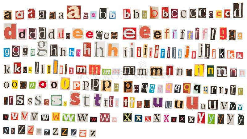 Alfabeto del giornale - lettera minuscola immagini stock