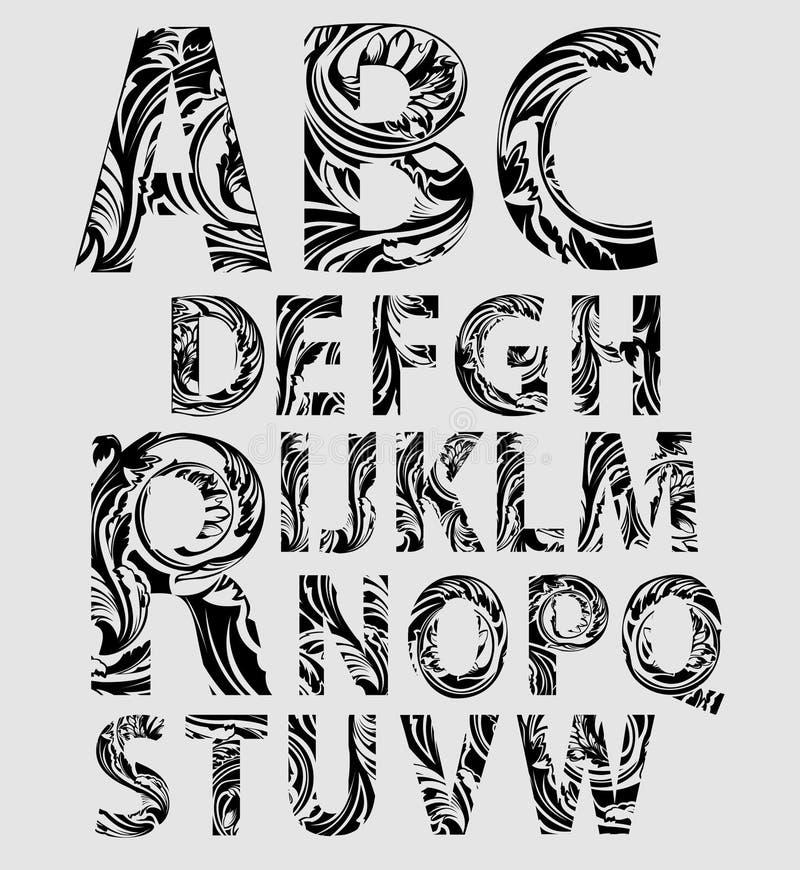 Alfabeto del gráfico de la mano stock de ilustración