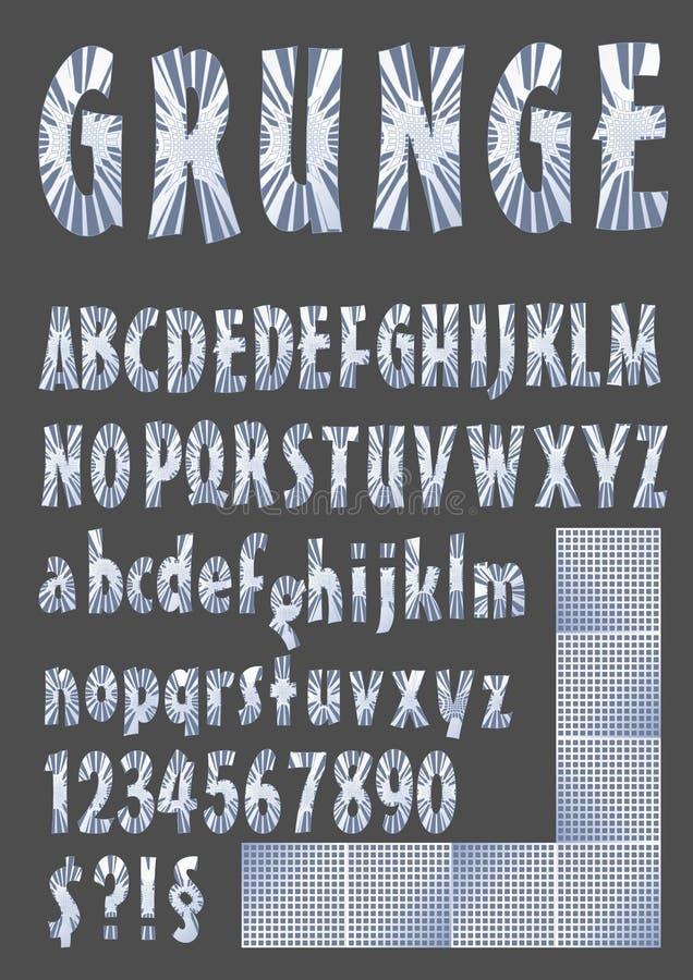 Alfabeto del Grunge en el diseño metálico, mayúscula, minúscula, número, símbolos, elementos de plata de la rejilla ilustración del vector