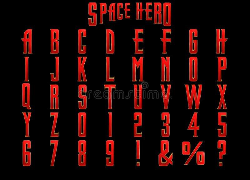 Alfabeto del héroe 3D del espacio libre illustration