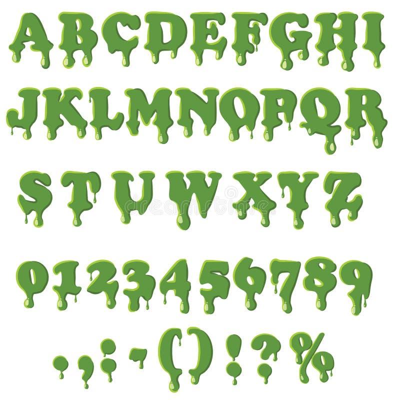 Alfabeto del limo en el fondo blanco ilustración del vector