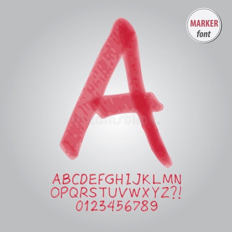 Alfabeto del marcador y vector rojos del dígito stock de ilustración