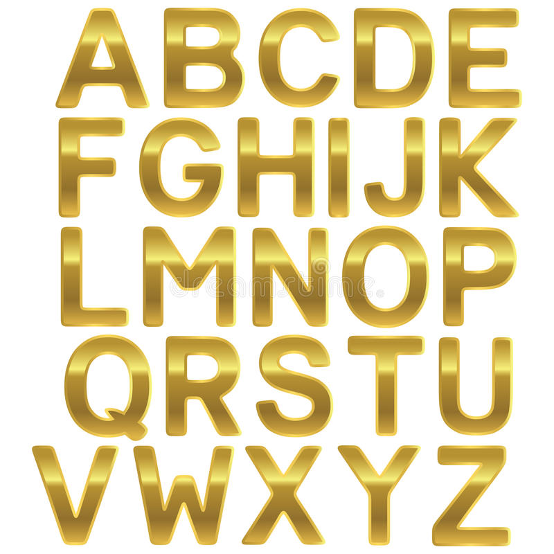 Alfabeto del mayúscula del oro de la fuente libre illustration