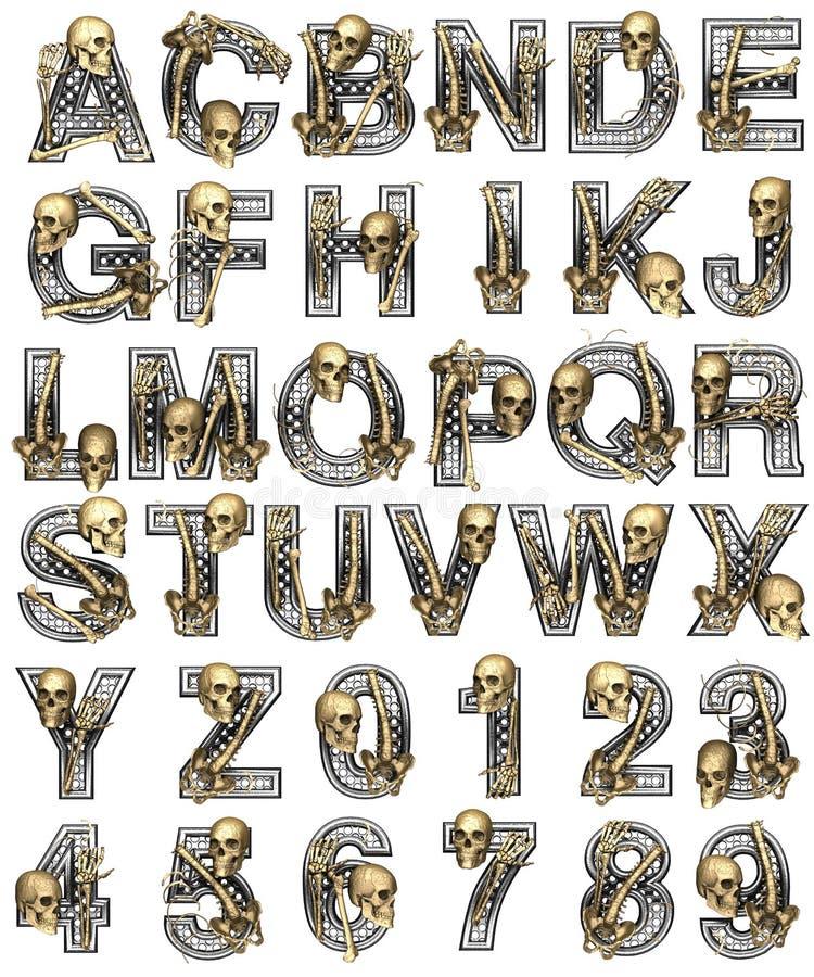 Alfabeto del metal con el esqueleto stock de ilustración