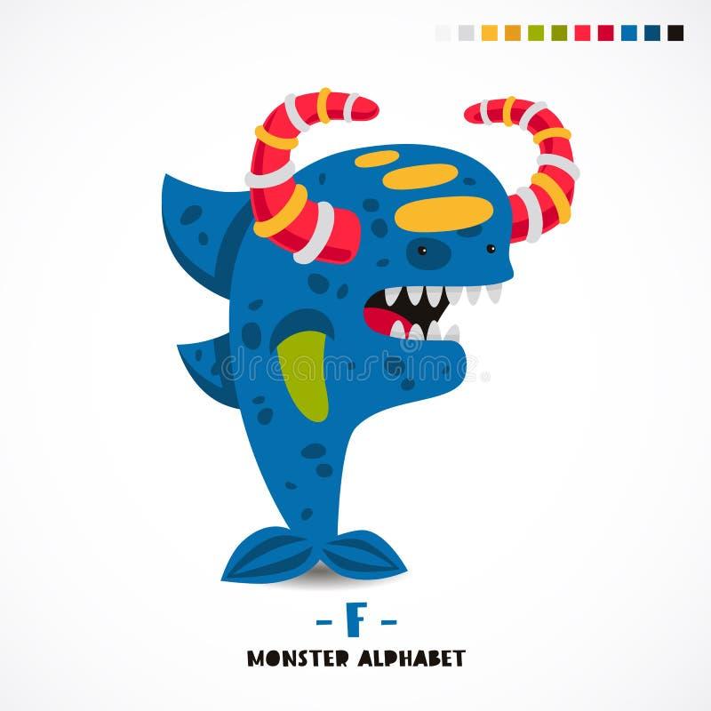 Alfabeto del monstruo Letra f libre illustration
