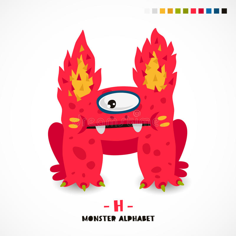 Alfabeto del monstruo Letra H stock de ilustración